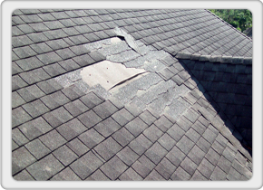 Damaged roof in Denton, TX